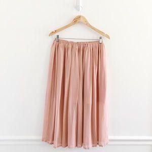Joie Blush Pink Silk Midi Flowy Skirt